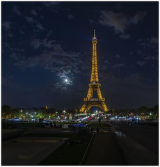Eiffel Tower. (babell4321) Tags: beverleybell 2019 paris eiffeltower eiffeltoweratnight skyline moon clouds nightsky people lights france traillights nightphotography recent explore longexposure city citylights canon