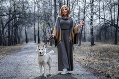 Vasilisa (M.Nuzhdov) Tags: portrait woman dog grey walking forest road fashion beauty girl
