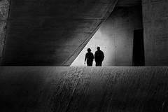 couple in concrete (heinzkren) Tags: beton light shadow paar panasonic lumix schwarzweis blackandwhite bw monochrome noiretblanc austria magical mystery street streetphotography building architecture architektur silhouette lines abstract lowkey