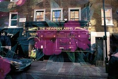 The Newman Arms (goodfella2459) Tags: nikonf4 fujifilmvelvia50 35mm e6 slidefilm analog colour multipleexposure doubleexposure london thenewmanarms pub flower building city streets
