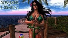 Summer is Coming (Thanatos Souldrinker) Tags: secondlife summer beach bikini parody sunrise tropics sunshine blueberry truth kc lumae cazimi mina reveobscura
