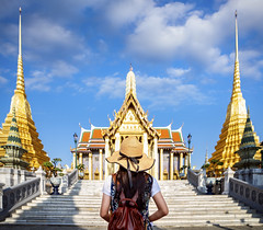 Asian lady travel in Wat phra keaw (anekphoto) Tags: bangkok thailand wat temple palace travel phra grand asia asian buddha kaew tourism architecture ancient tourist traditional thai religion famous culture emerald landmark city history place nature woman view art beautiful old building young royal vacation buddhism holiday buddhist scenic people happy summer decoration style landscape traveler lady pagoda golden
