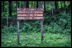 Camp Signage, 2019.05.18 (Aaron Glenn Campbell) Tags: civilianconservationcorps campdewittkinchen ccc494 tva45 campsam norrisdam statepark rockytop norris andersoncounty tennessee tn outdoors optoutside wooded nikcollection analogefexpro colorefexpro sony a6000 ilce6000 telephoto zoom vintagelens manualfocus filmera tokina tokinarmc 35mm105mmf35 closefocusingzoom fotodiox lensadapter canonfdmount