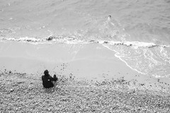 Seaside - A Man and his Dog (julieloolibelle15) Tags: hastings 2019 may seaside shootfromthehip streets streetphotography england tradition documentary beach lifestyle summer towns people monochrome blackandwhite swimming