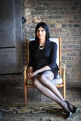 Peplum Dress 5 (Hannah McKnight) Tags: tgirl transgender transgirl model crossdress crossdresser stilettos stockings peplum littleblackdress