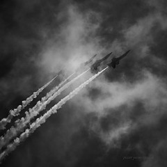 Obscured (Valley Imagery) Tags: bw mono blue angels formation cloud smoke trail climbing usa andrews jba joint base airshow 2019 sun clouds sony a99ii 70400gii