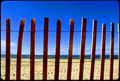 The beach, Southampton, NY (Special Skills) Tags: ny film beach fence sand slide southampton ocean water atlanticocean thehamptons xfinitythrottlesbandwidthillegally