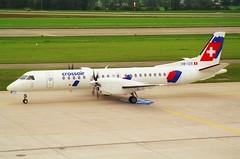 Crossair Saab 2000; HB-IZS@ZRH;11.10.1997 (Aero Icarus) Tags: zrh zürichkloten lszh zurichairport zürichflughafen negativescan avion aircraft flugzeug plane crossair saab2000 hbizs turboprop