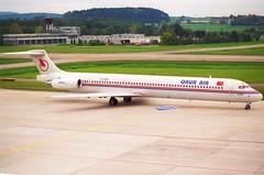Onur Air MD-88; TC-ONM@ZRH;11.10.1997 (Aero Icarus) Tags: zrh zürichkloten lszh zurichairport zürichflughafen negativescan avion aircraft flugzeug plane onurair md88 tconm md80