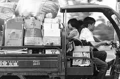 Loaded (MileStyle) Tags: china emei van vehicle family bw goods transport