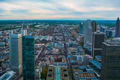 The city of Frankfurt (nmkavvada) Tags: frankfurt germany sun sunset skyscaper blue bluecolor urban urbancity urbanphotography