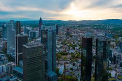 The skyscrapers of Frankfurt from above (nmkavvada) Tags: frankfurt germany sun sunset skyscaper blue bluecolor urban urbancity urbanphotography