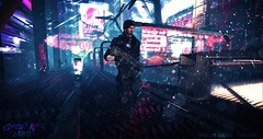 Patrolling in the rain (Fraztov) Tags: sl secondlife second life rp roleplay scifi science fiction cuberpunk