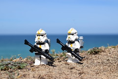 Scene: - Star-Corps Troopers (Working hard for high quality.) Tags: grass sand water sky blue characters wars star lego trooper