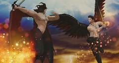 WARRIORS (christophersaxton) Tags: sl secondlife second life angel demon dark warriors hell heaven battle fight