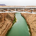 The Colorado River passes under Navajo Bridge on the way to the Grand Canyon