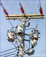 25-140 (Timothy Valentine) Tags: capecod pole insulator transformer red 0419 streetlamp sky 2019 telegraphtuesday westyarmouth massachusetts unitedstatesofamerica