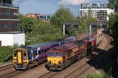 DB Cargo Class 66 66098 + 66149 and Northern Class 158 158861 (Adam Fox - Plane and Rail photography) Tags: the 4g00 1242 bow depot heck plasmor p s is double headed by 66098 66149 through east holmes junction lincoln 210519 158861 waiting for train clear path before terminating arriva br railways rail british railway railroad shed sheds diesel loco locomotive locos locomotives dmu multiple unit sprinter tracks freight ews header heading