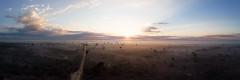 Baobab sunrise (davе) Tags: 2018 madagascar mavicair landscape baobab dawn sunrise panorama avenuedebaobab sky clouds mist road