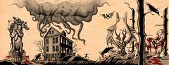 Horrorscape III (Tom Bagley) Tags: cerberus theshunnedhouse tentacles frog lovecraft crows bat demon mushrooms blood bathory clawfootbathtub creepy eerie weird ink pulp markers cartoon illustration tombagley calgary alberta canada