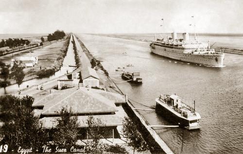 "25 Feb 1942 - No. 19 ""Egypt - The Suez Canal"" (real photo postcard circa 1930 - restored sepia duo-tone version)"