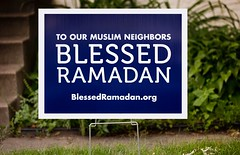 To Our Muslim Neighbors - Blessed Ramadan - yard sign in Saint Paul, Minnesota (thstrand) Tags: community allarewelcome welcoming blueandwhite fivepillarsofislam annualobservance blessedramadan communications muslimneighbors understanding usa us unitedstates americans american tolerance respectful respect saintpaul mn minnesota stpaul yardsign signs sign neighbors neighbor messages message religious religion faith islamic islam muslim muslims