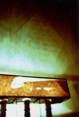 Fujica ST Sunnyside Mausoleum 2 (▓▓▒▒░░) Tags: fuji fujica slr japan xpro cross process velvia analog mechanical design style classic vintage retro antique 35mm film camera la los angeles lbc longbeach sunnyside forest lawn mausoleum cemetery grave statue pendulum tiles history architecture