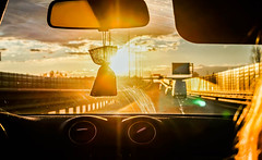 On the highway / По дороге домой (camelopardalisi) Tags: sunset sun car highway road evening машина шоссе закат солнце bright