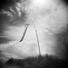 Clatsop Spit #6 (LowerDarnley) Tags: holga oregon oregoncoast hammond clatsopspit wind windsock dunegrass clouds sky storm northwest