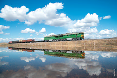 Reflection... (N.Batkhurel) Tags: season summer sky clouds water locomotive lake railway railfan river rzd 2te116 trains trainspotting transport train ngc nikon nikondf nikkor 24120mm mongolia monrailpic ions