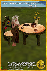 Harvest Moon - Storybook Chair & Table - Mossy (honeyheart1) Tags: furniture fairy fae elfin story fairytale birch twig bench gazebo bridge arch garden sl secondlife harvestmoon