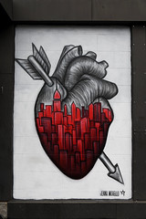 A Heart For New York! (Anthony Mark Images) Tags: heart redheart arrow skyscrapers heartfornewyork painting wallmural streetart art bigapple newyork nyc manhattan houstonst love nikon d850 flickrclickx