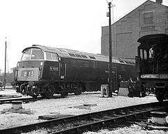 Crewe Works, D1047, Western Lord. (Garter Blue) Tags: class52 western diesel crewe works film blackwhite bw monochrome 1960s