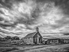 Clouds Over Bodie Church (Jeff Sullivan (www.JeffSullivanPhotography.com)) Tags: county weather clouds church bodie state historic park american ghost town wild west mining bridgeport eastern sierra california united states usa canon 5d mark iii photo copyright 2015 jeff sullivan july abandoned rural decay mono hdr photomatix nik silver efex 2 black white