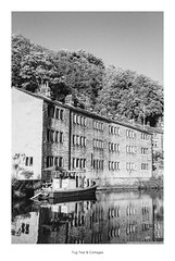 Tug Teal & Cottages (Rory Prior) Tags: 35mm calderdale hebdenbridge rollei35se spring yorkshire bw barge boat canal cottages film fomapan100 rochdalecanal
