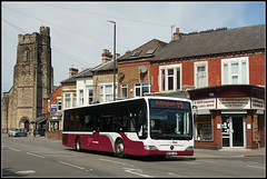Yourbus 3011, Long Eaton (Jason 87030) Tags: longeaton engravers shops street road notts derbyshire nottingham y5 maroon livery white bus mercedes benz citaro church scene uk england service route may 2019