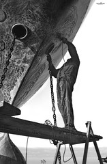 at the edge (dim.pagiantzas   photography) Tags: edge ship ships shipyard transportation worker people environment street grayscale bw monochrome blackandwhite textures chains sea seascape canon