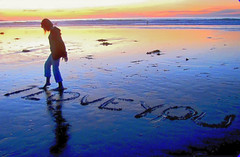 Love Letter in the Sand, California Style (moonjazz) Tags: love letter sand beach romantic sunset california ocean feeling emotion care beauty nature tide affection communicate writing creative fun feet barefoot you playa amor dear joy express moonjazz11 photograph amour message nostalgia