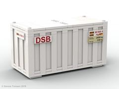 DSB 20 ft Container (dennis.tomsen) Tags: railroad train wagon lego rail danish dsb freightcar lgmns studio model render moc rollingstock ldd flatcar scandia legodigitaldesigner dbcargoscandinavia partdesigner flatwagon container flat