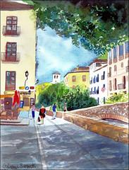 Carrera del Darro 12 (Dr Graham Beards) Tags: albaicin andalucia spain watercolor carreradeldarrogranadawatercolor darro watercolour lafontana granada