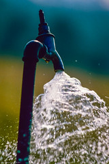 Open tap (gwpics) Tags: blue environment waste pouring water yellow gushing tap archive faucet film colour analog analogue color