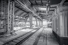 Dresden Bahnhof 1 (Parchman Kid (Jerry)) Tags: city germany bahnhof dresden monochrome detail detailed sharp dirty parchmankid sony a6000 train tracks track bahn jerryburchfield burchfield