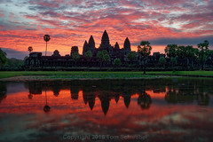 Dawn on Ancient Times [Re-Edit] (pdxsafariguy) Tags: travel cambodia architecture ruin temple building tower sunrise stone reflection sky lake dawn monument asia archaeology civilization clouds southeastasia tree water angkorwat siemreap tomschwabel