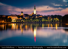Czech Republic - Tabor - Cityscape from Jordan Lake - Twilight - Dusk - Blue Hour - Night (© Lucie Debelkova / www.luciedebelkova.com) Tags: tábor tabor southbohemia jižníčechy bohemia čechy cechy czechrepublic czech českárepublika česko ceskarepublika cesko czechia europe centraleurope europeanunion eu world exploration trip vacation holiday place destination location journey tour touring tourism tourist travel traveling visit visiting wwwluciedebelkovacom luciedebelkova luciedebelkovaphotography outdoor sun sunset building sky dramatic clouds city cityscape town church tower twilight dusk bluehour night water waterscape lake pond shore
