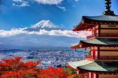 Le mont Fuji vu depuis la Pagode Chureito, Sanctuaire Arakura Sangen, Fujiyoshida, Japon 2018 (Baloulumix) Tags: baloulumix japon julienfourniol julienfourniolbaloulumix asie tourisme voyage fujiyoshida préfecturedeyamanashi jp
