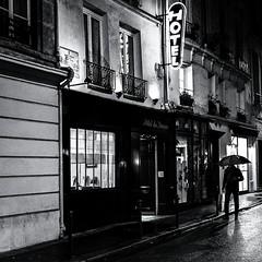 Hôtel du Dragon (christiandumont) Tags: monochrome streetphotography streetphoto streetlife street blackandwhite blackwhite black white night rain bw noiretblanc nb pluie x100f fujifilm