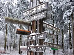 Wegweiser (guidepost) (skruemel86) Tags: winter schnee gefroren weg wanderweg wegweiser bäume frost holz gehölz thüringen thüringer wald wegscheide park rastplatz snow frozen wood forest way trail path route walk spaziergang distance panasonic lumix fz82