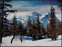 Winter Scene With Pine Trees & Mountains - Acrylic Painting by STEVEN CHATEAUNEUF - Painted at The End of 2018 And Finished In 2019 (snc145) Tags: winter seasons landscape scenery sky clouds mountains trees nature outdoor art painting acrylic 2018 2019 stevenchateauneuf pinetrees therockies flickrunitedaward fineart simplysuperb artgalleryandmuseums thisisexcellent