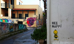Bee happy... (Michael Kalognomos) Tags: canon ef24105mmf4l photography canoneos5dmarkiii streetstories streetphotography cinematography bee happy light athens greece colors colorful dof depthoffield bokeh graffiti urbanlandscape