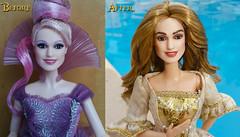 Elizabeth Swann Before and After (everenthia) Tags: disney pirates caribbean elizabeth swann keira knightley barbie doll ooak repaint curse black pearl gold coin piratesofthecaribbean curseoftheblackpearl elizabethswann keiraknightley